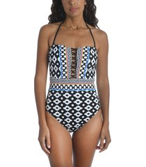 trina turk onyx ikat bandeau one-piece swimsuit, size 6 in black at nordstrom
