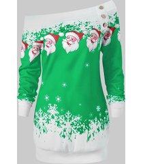 skew neck santa claus snowflake pullover christmas sweatshirt