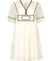 jurk met borduursels talia  naturel