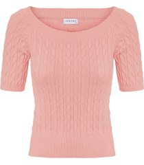blusa feminina cropped ombro a ombro - rosa