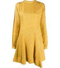 derek lam 10 crosby long sleeve godet insert mini paisley dress -