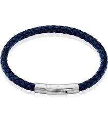 bracciale in acciaio e pelle blu per uomo