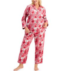 charter club plus size cotton flannel pajama set, created for macy's