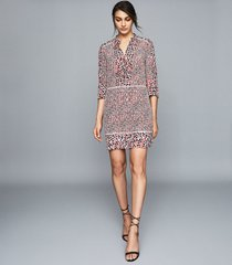 reiss anush - floral printed tea dress in red, womens, size 12