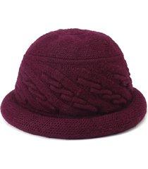 cappello invernale da donna in pelliccia di lana con cappuccio caldo lavorato a maglia