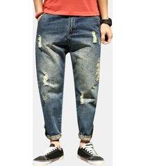 30-42 elegante haren pantaloni fori larghi strappati jeans per uomo