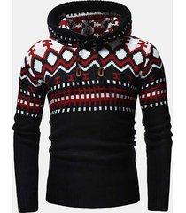 maglia da uomo stile nazionale warm wool knitt sottile fit casual hooded maglione