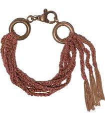 carolina bucci 18kt rose gold and pink silk lucky layered bracelet
