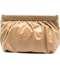 isabel marant ruched clutch bag - neutrals