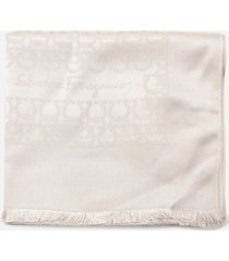 salvatore ferragamo wool and silk scarf with all-over gancini print