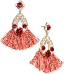 thalia sodi two-tone crystal & imitation pearl rosette fringe oval drop earrings, created for macy's