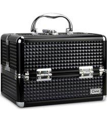 maleta de maquiagem cisne alumínio reforçada 4 bandejas preta