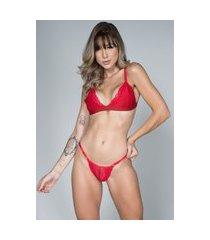 conjunto feminino lingerie serra e mar modas maine vermelho