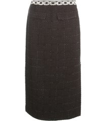 blumarine boucle skirt w/chain strass