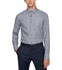boss men's glencheck slim-fit shirt