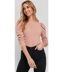 trendyol balloon sleeve knitted blouse - pink