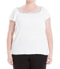 max studio women's plus lace trimmed top - white - size 2x (18-20)