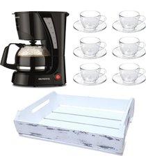 kit 1 cafeteira mondial 110v, 6 xícaras 90 ml com pires e 1 bandeja em mdf branca - tricae