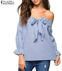 zanzea más nuevo del hombro tops verano de las mujeres de slash cuello con lazo rayado vertical azul de la blusa más el tamaño de la cosecha blusas light blue -azul claro