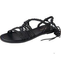 1101 sandália rasteira handmade preto
