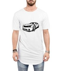 camiseta criativa urbana long line oversized super carros masculina