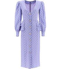 alessandra rich polka dot midi dress with jewel buttons