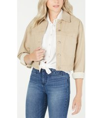 oat cotton cropped button-front jacket