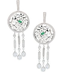 cz by kenneth jay lane women's look of real rhodium-plated & crystal cutout disc drop earrings