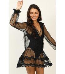 showpo summer frolick dress in black spot - 14 (xl) beachwear