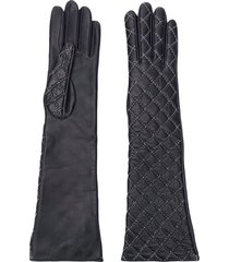 manokhi diamond stitched gloves - black