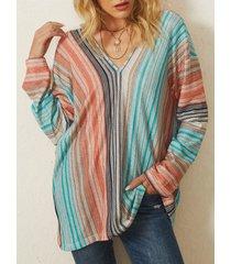 camicetta a maniche lunghe con scollo a v lavorato a maglia con stampa a righe casual plus