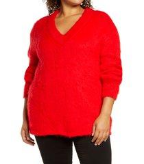 plus size women's bp. fuzzy v-neck tunic sweater, size 3x - red