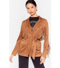 womens faux suede for each other fringe belted jacket - camel