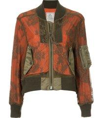 maison mihara yasuhiro lace overlay bomber jacket - orange