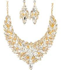 conjunto brinco e colar liage pedras, cristais / strass branco e metal dourado