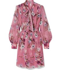 remy pussy-bow floral-print silk crepe de chine mini dress