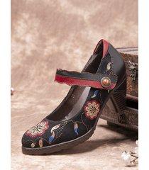 socofy retro flanella ricamata con cuciture in pelle di vacchetta cinturino alla caviglia indossabile décolleté con tacc