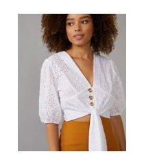 amaro feminino blusa laise abotoamento e mangas bufantes, off-white