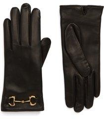 women's gucci horsebit nappa leather gloves, size 8 - black
