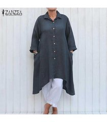 zanzea mujer solapa botones irregular ocasionales flojas de la blusa llanura larga camisa de vestir gris oscuro -gris