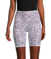 marc new york performance women's leopard-print biker shorts - leopard combo - size s