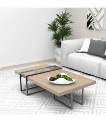 mesa centro tubular preto madeirado escuro mdf lilies móveis