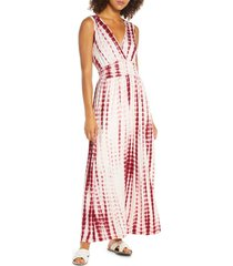 women's fraiche by j tie dye ombre jersey maxi dress, size small - burgundy