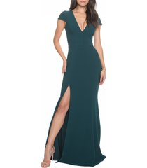 women's dress the population karla v-neck trumpet gown, size small - green