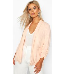 plus lapel detail ruched blazer, blush