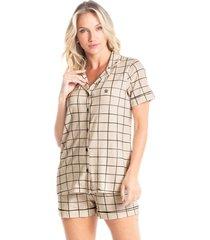 pijama curto abotoado estampado amanda