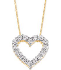 macy's star signature diamond heart pendant necklace (1 ct. t.w.) in 14k gold or white gold