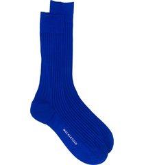 mackintosh mid-calf ribbed knit socks - blue