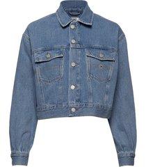 cropped trucker jacket tmyflg jeansjacka denimjacka blå tommy jeans