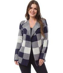 casaco kimono pink tricot xadrez azul marinho/branco - azul marinho/cinza - feminino - acrãlico - dafiti